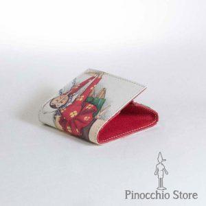 portamonete in pelle e tessuto con stampa Pinocchio