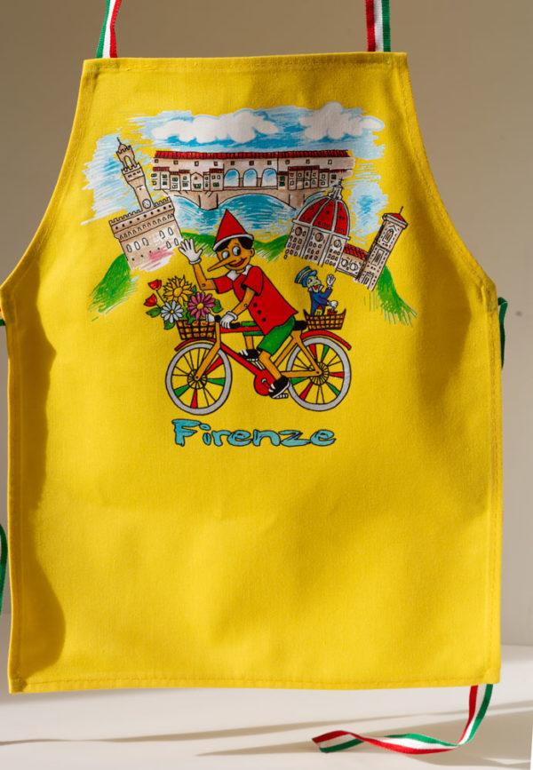 """Grembiule """"Pinocchio in bicicletta"""" giallo"""